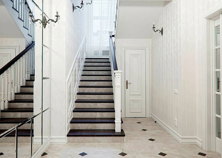 Marble Tiles for an Elegant Staircase Design and Entryway Floor