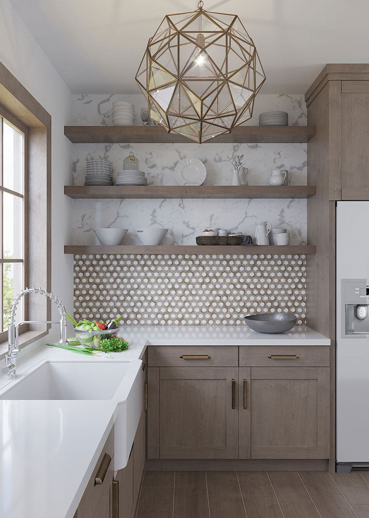 Modern Rustic Kitchen with Beige and White Hexagon Tiles and Natural Wood Shelves