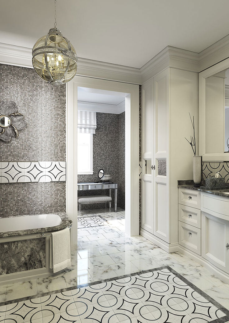 Tile Floor and Wall Accents with Circular Mosaic Patterns for a Luxurious Bathroom Design