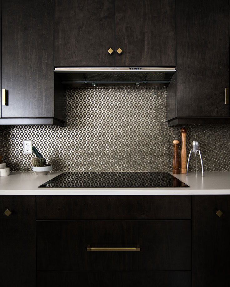 Add Sparkle to Black Kitchen Cabinets with Silver Diamond Glass Mosaic Tile