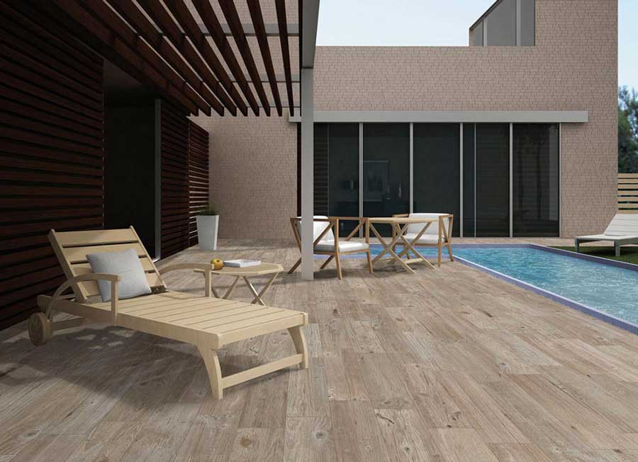 Porcelain Tile for a Wood Look and Slip Resistant Pool Deck
