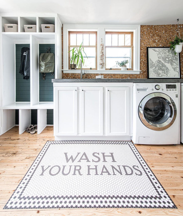 Wash your Hands Retro Hexagon Tile Rug for a Laundry Room Design