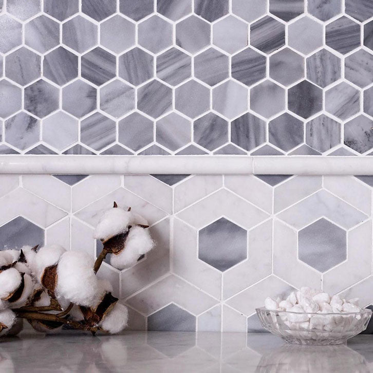 Bardiglio Marble Hexagon Mosaic Tiles Paired with Different Shapes and Designs
