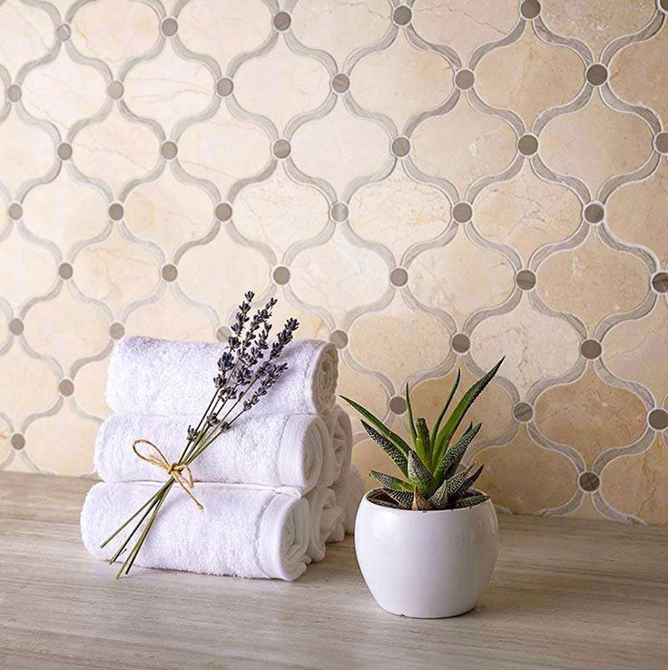 Give Neutral Interiors some Warmth with Crema Marfil Marble for French Country Homes