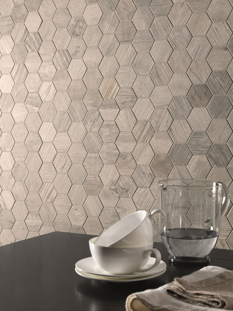 Wood Look Porcelain Tile Wall with Gems Hex Blanco