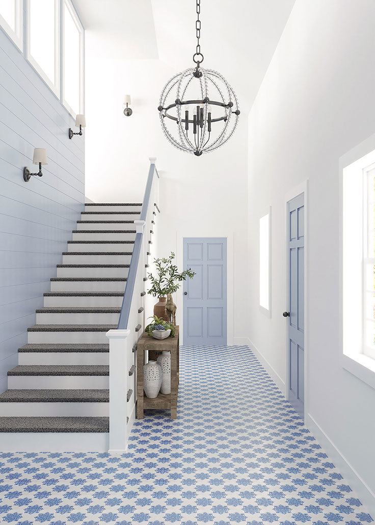 Blue and White Textured Tile Floor for an Airy Entryway
