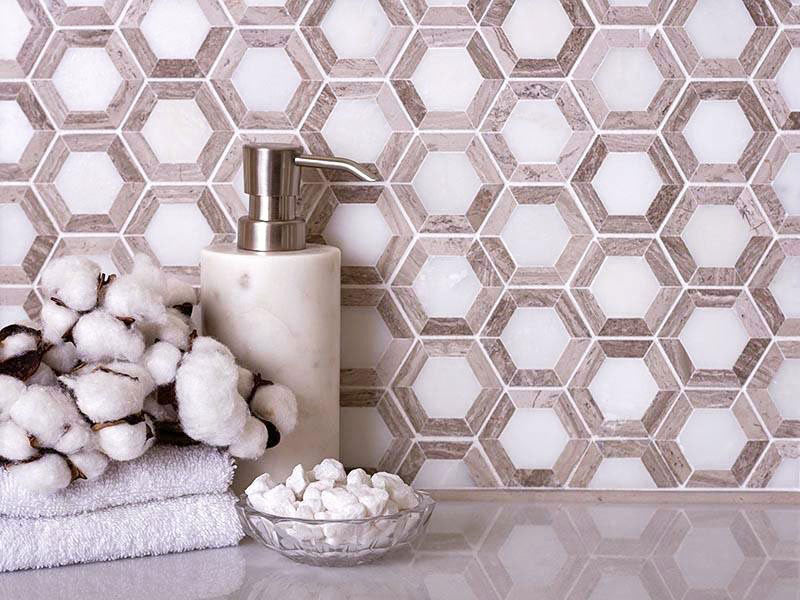Nova Hex Wooden Beige Marble Tile for a Rustic Farmhouse Bathroom with Geometric Hexagon Detail
