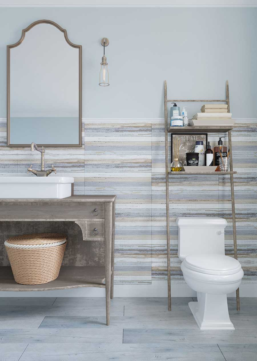 Faux shiplap tile walls for a cozy aqua and champagne bronze half-bathroom, with an antiqued vanity and vessel sink