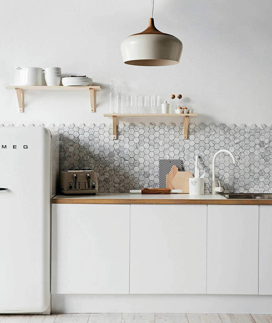 Carrara Hexagon Honed Marble Mosaic Tile adds White Marble Tile Detail to your Backsplash