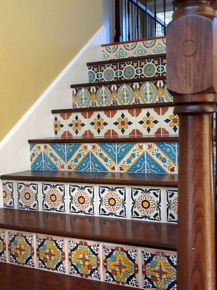 Spanish Style Staircase with Colorful Mosaic Tile