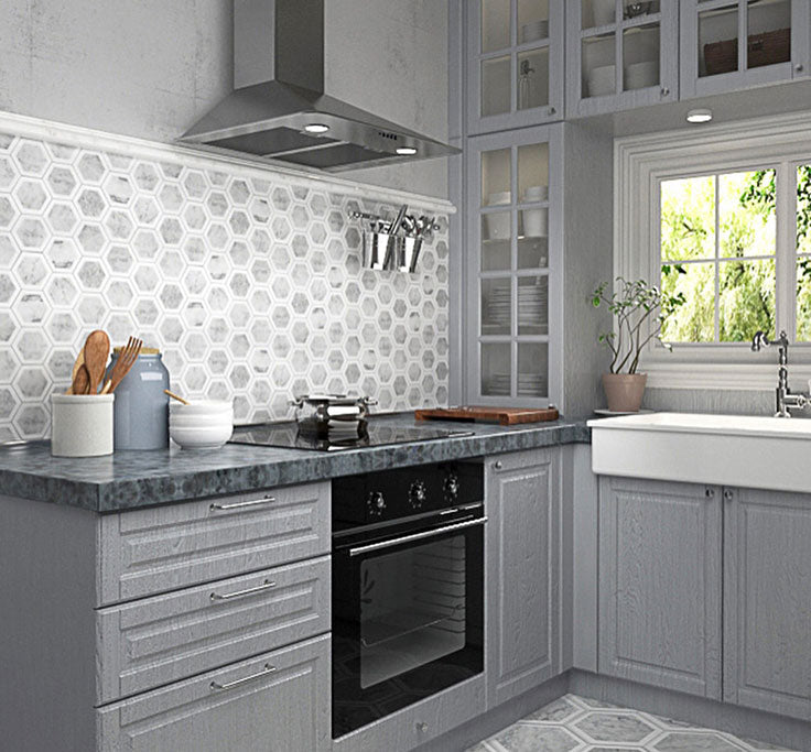 Carrara Hexagon Marble tile for a white kitchen backsplash with gray cabinets
