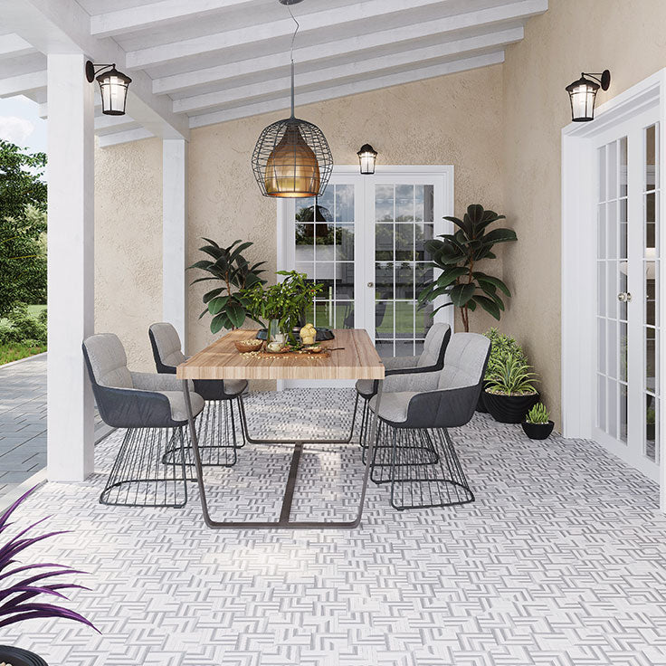 Covered Patio Outdoor Dining Area with Interlocking Patterned Floor Tiles