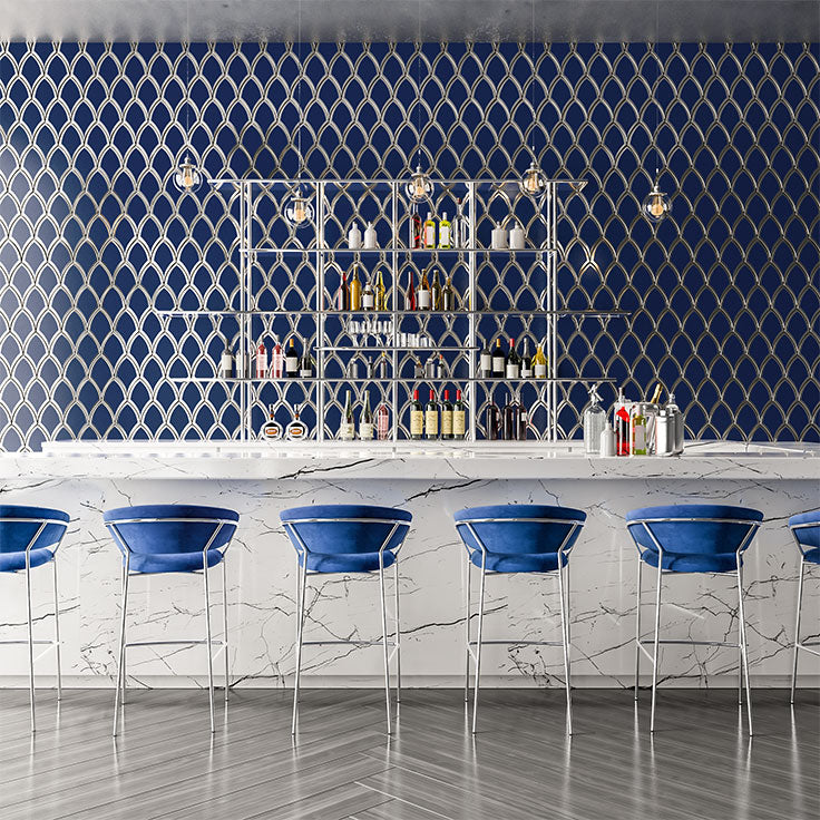 Cobalt Blue and Chrome Rooftop Bar Backsplash with Art Deco Style