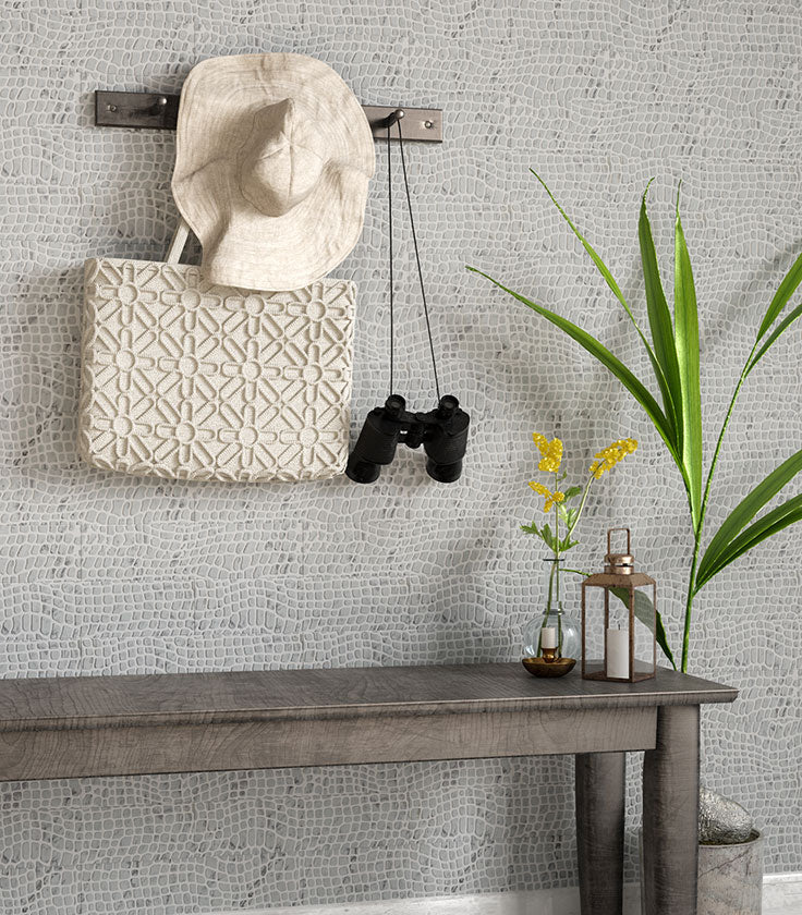Etched Carrara Tiles add Texture to your Mudroom Wall