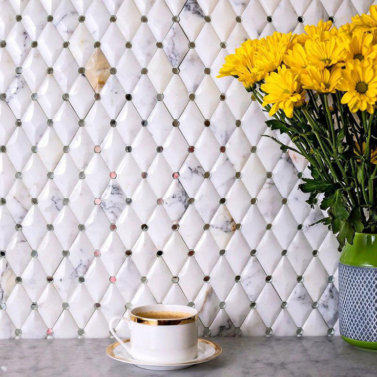 Textured Marble and Glass Wall Tile