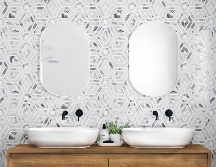 Patterned Marble Tiles for a Bathroom Makeover