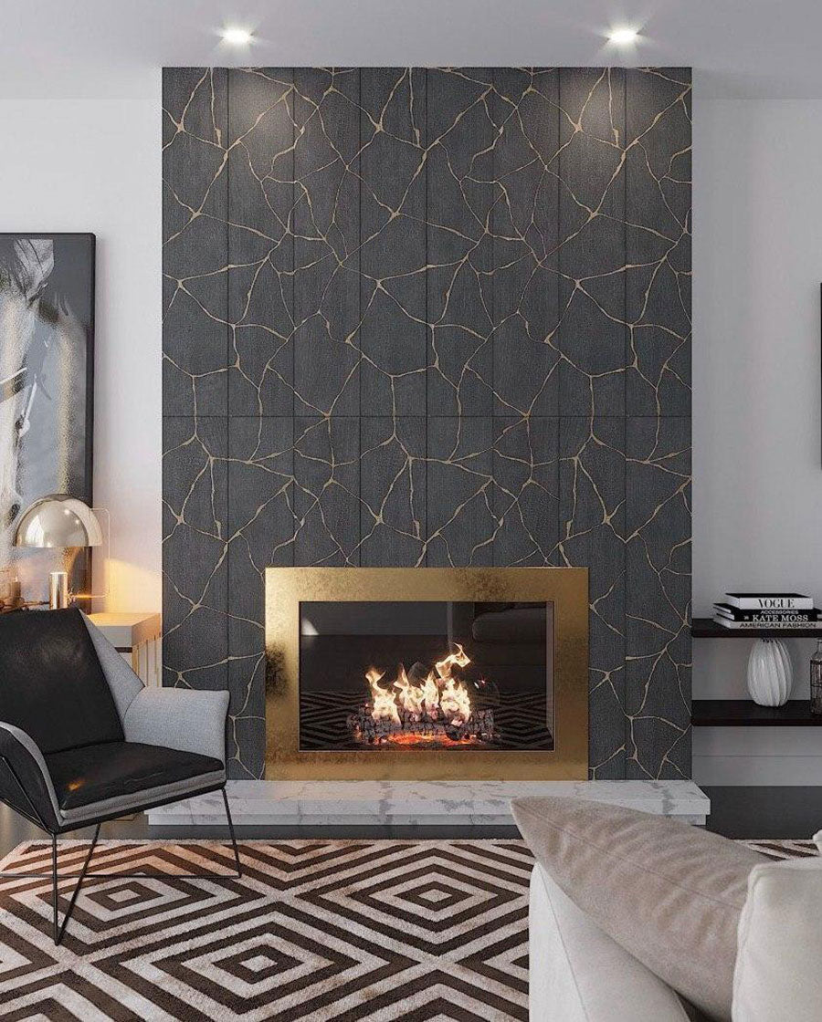 "Kasai Notte Kintsugi 10x60"" Rectified Porcelain Tile combines a wood-look finish and a deep charcoal black color with weaving lines that echo the Japanese art of Kintsugi"