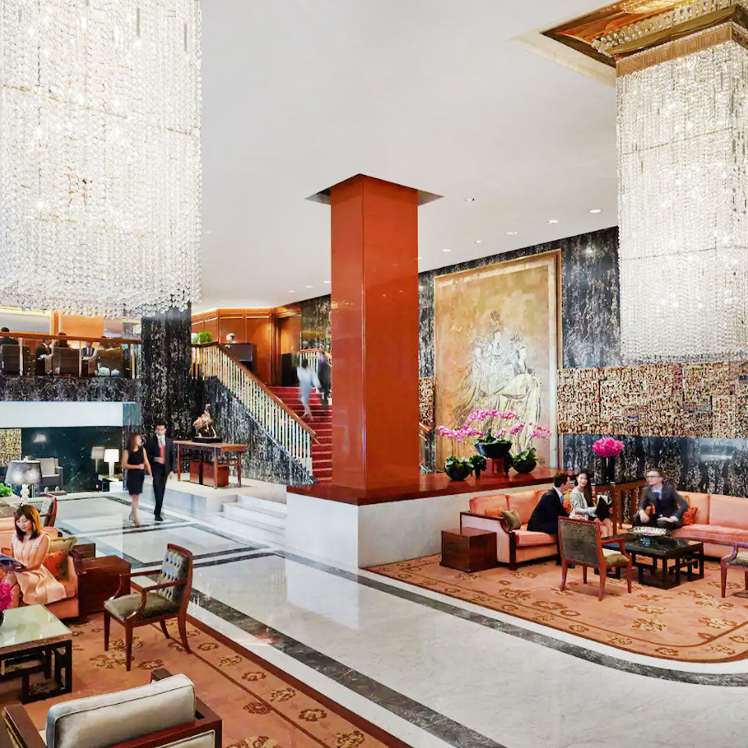 The Mandarin Oriental Hong Kong Lobby with Marble Floor Tiles