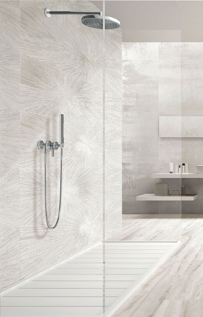 Make an Impact with Industrial Design with this White Pearlized Porcelain Bathroom Tile