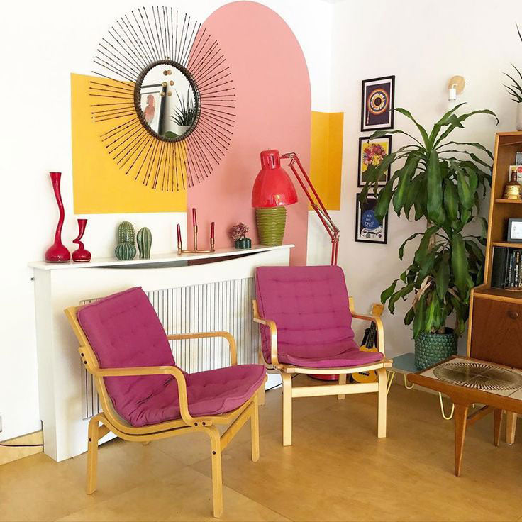RetroJo5 embodies the Palm Springs roots of Mid-Century interiors with graphic patterns, colorblocked wall art, and retro Finn Ostergaard chairs that were a lucky find!