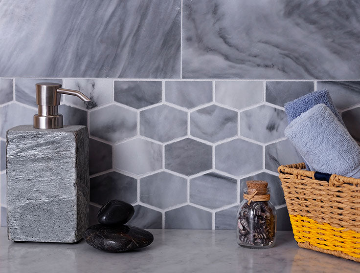 Bardiglio Marble has a high level of natural variation between tiles
