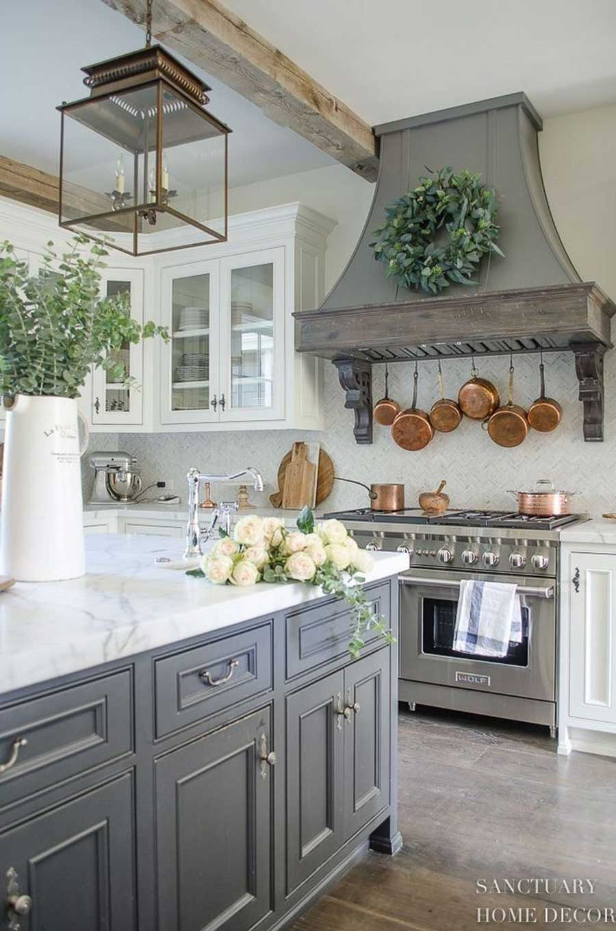 French Country Cottage Kitchen with Chevron Tile Backsplash