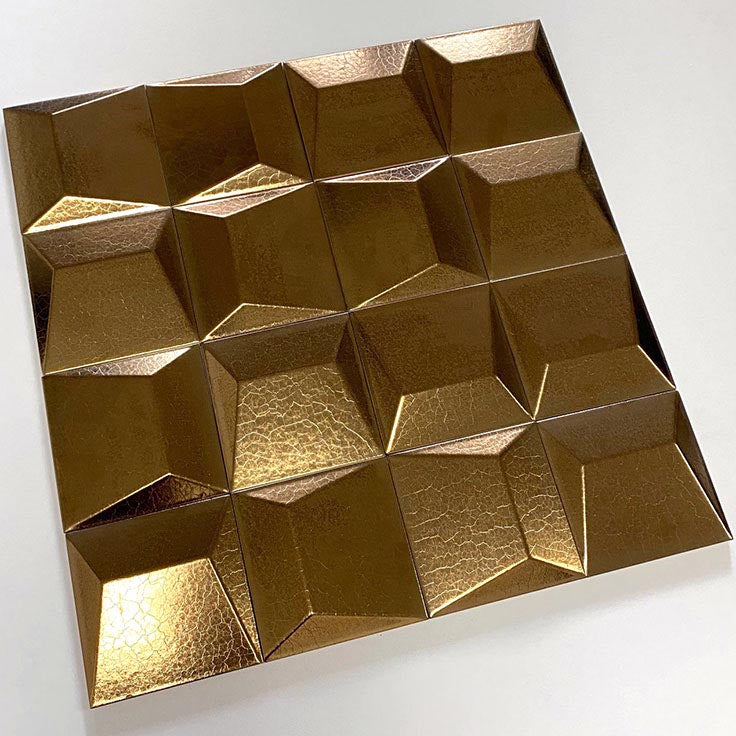 3D Wall Tiles with a Metallic Copper Finish