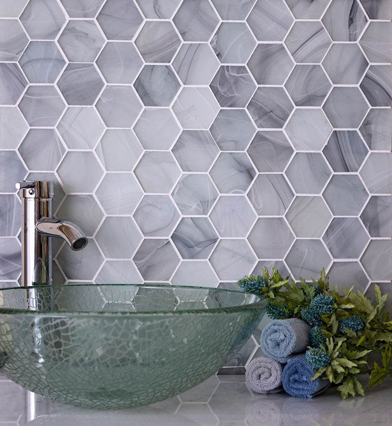 Ocean Glass Hexagon Grey Mosaic Tile for a Coastal Bathroom
