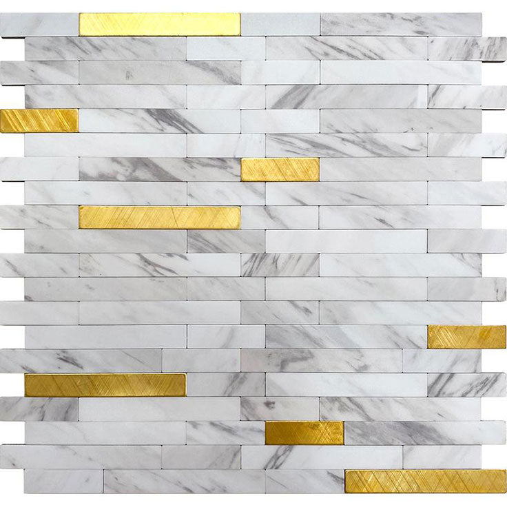 White Marble and Gold Look Stack Vinyl Peel and Stick Tile