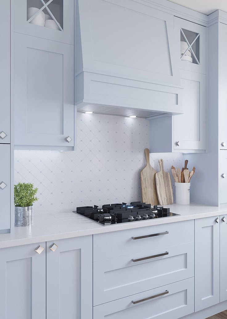 Shades of White and Blue for a Traditional Kitchen Design