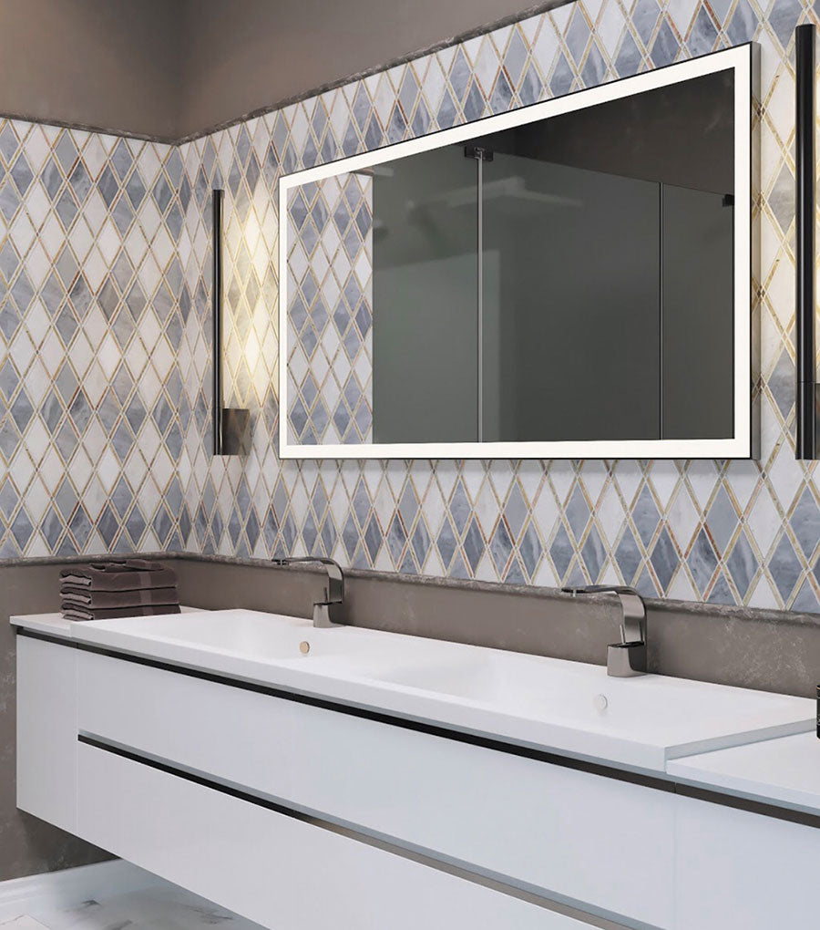 Interlocking Diamond Marble Tiles for a Patterned Vanity Backsplash with Geometric Details