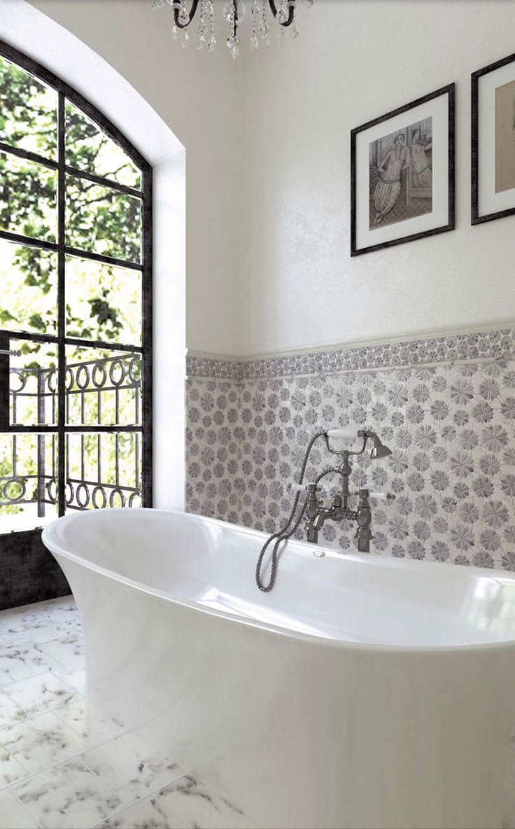 Elegant Bathroom with a Soaking Tub and Flower Print Marble Wallpaper Tile