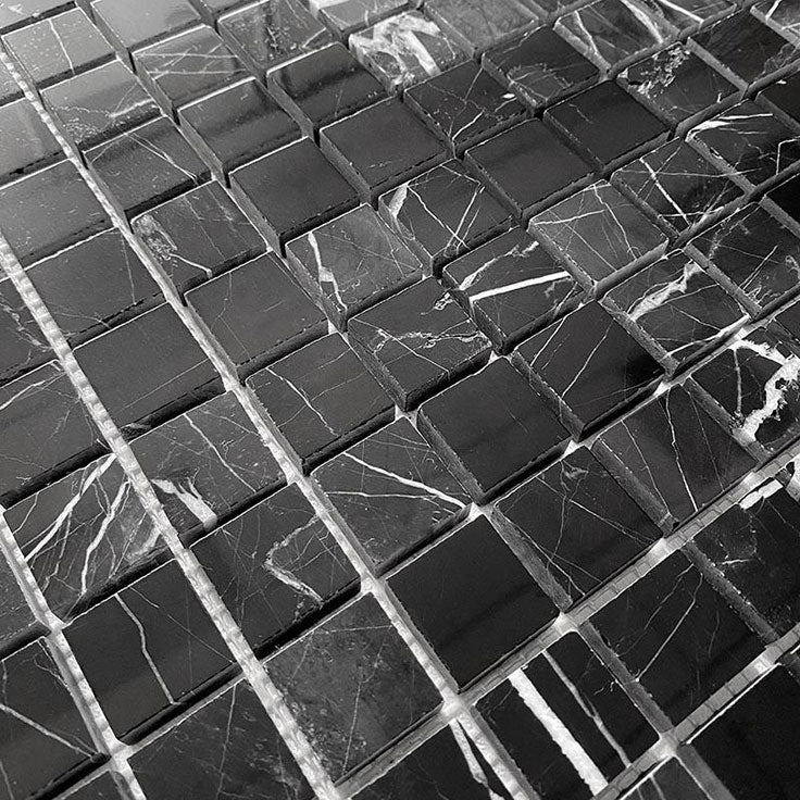Bold Black Marble Nero Marquina Square Mosaic Tile with White Veins