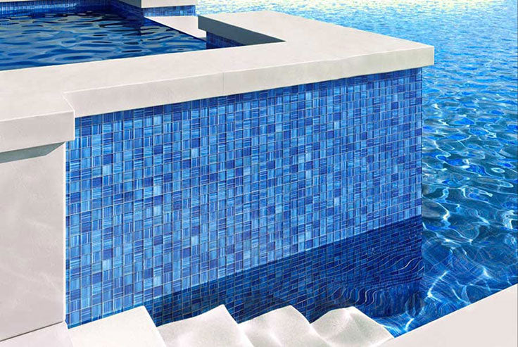 Glossy Pool Blue Tiles for a Decorative Waterline and Tiled Jacuzzi Surround