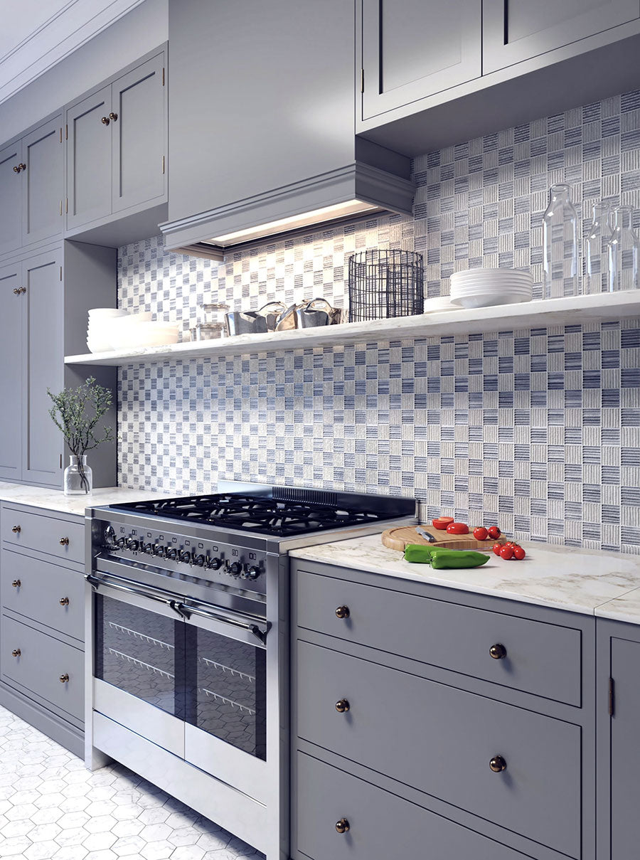 Carrara And Bardiglio Marble Mosaic tile features a classic checkered pattern for a white and gray kitchen backsplash