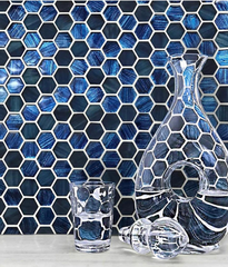 Blue Foil Glossy and Frosted Hexagon Mosaic Tile