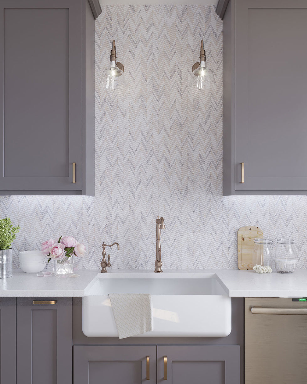 Rustic Neutral Kitchen Ideas with Skinny Chevron Calacatta Gold Mosaic Tile Backsplash and a Farm Sink