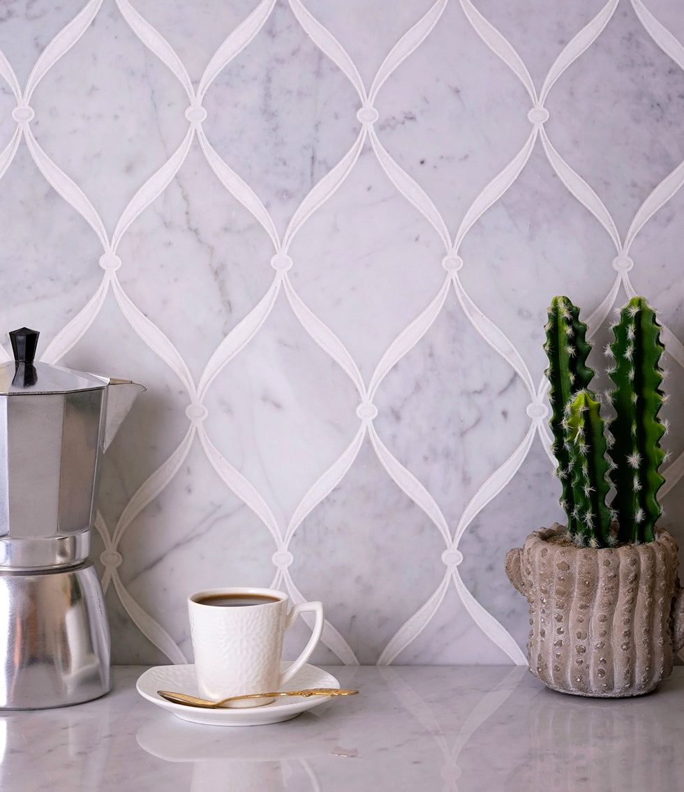 Carrara Chic With Thassos Dots Marble Mosaic Tile Kitchen Backsplash with Southwestern Interior Details