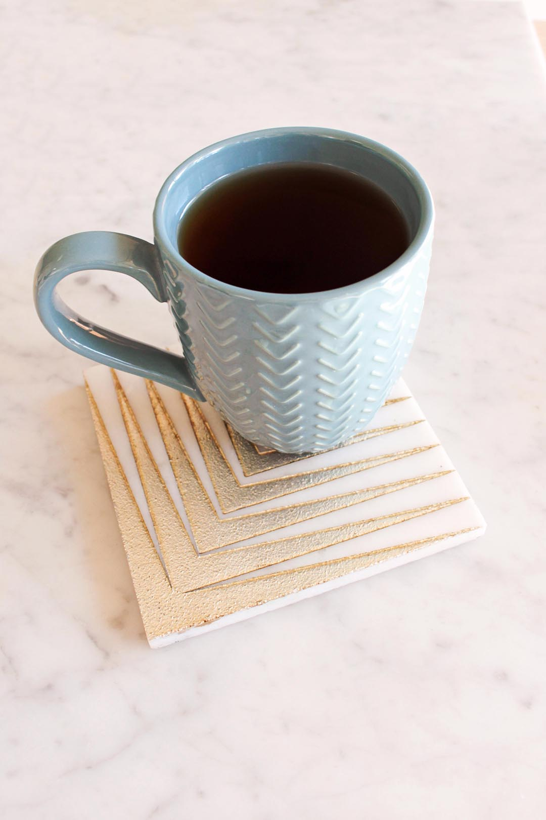 DIY Coasters with Leftover Golden Arrow Marble Mosaic Tile from Tile Club