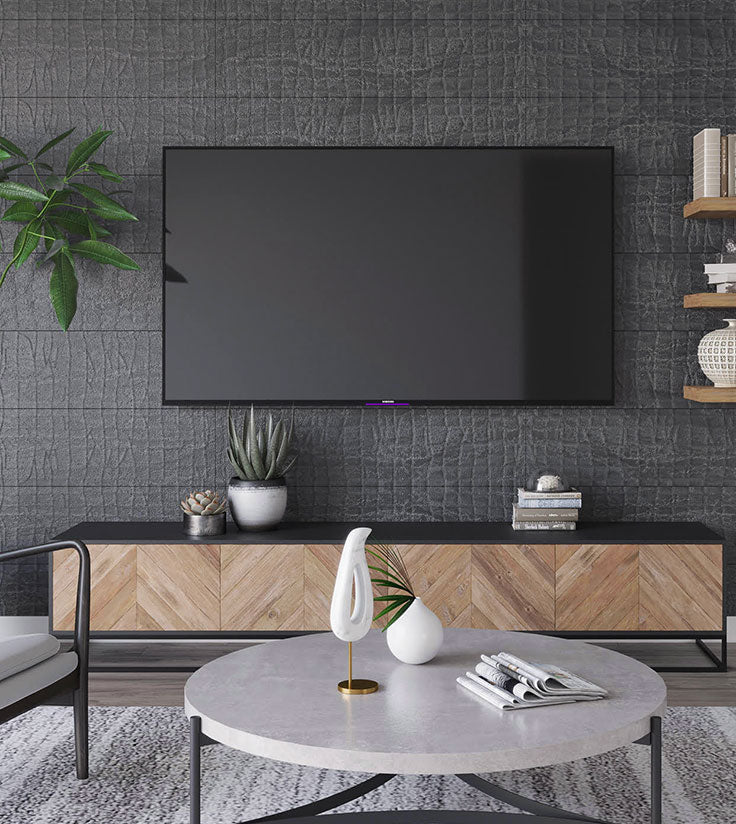 Textured Wall Tiles for a Masculine Living Room with Man Cave Style