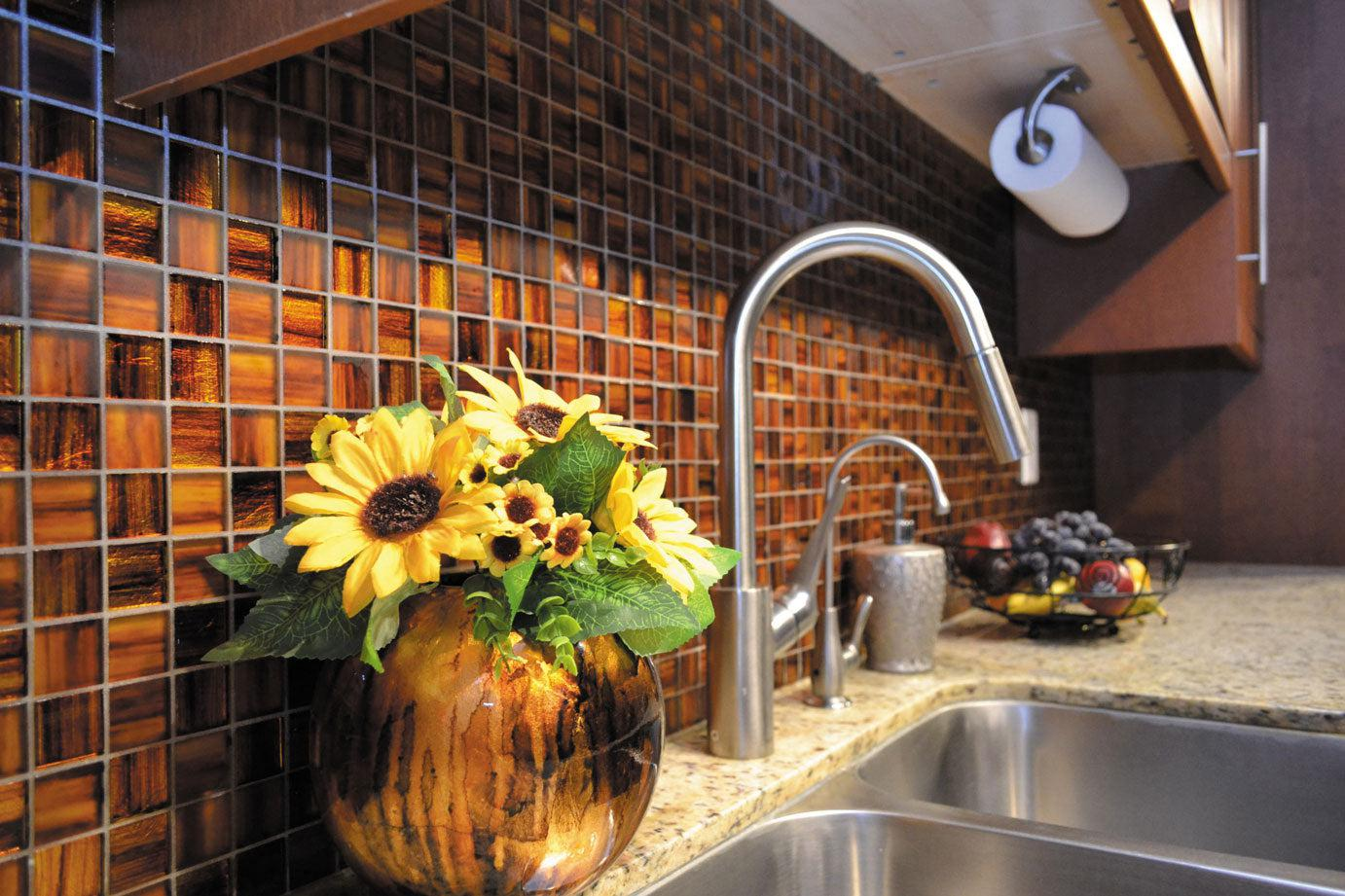 Deep Orange Foil Glossy And Frosted Square Mosaic Tile