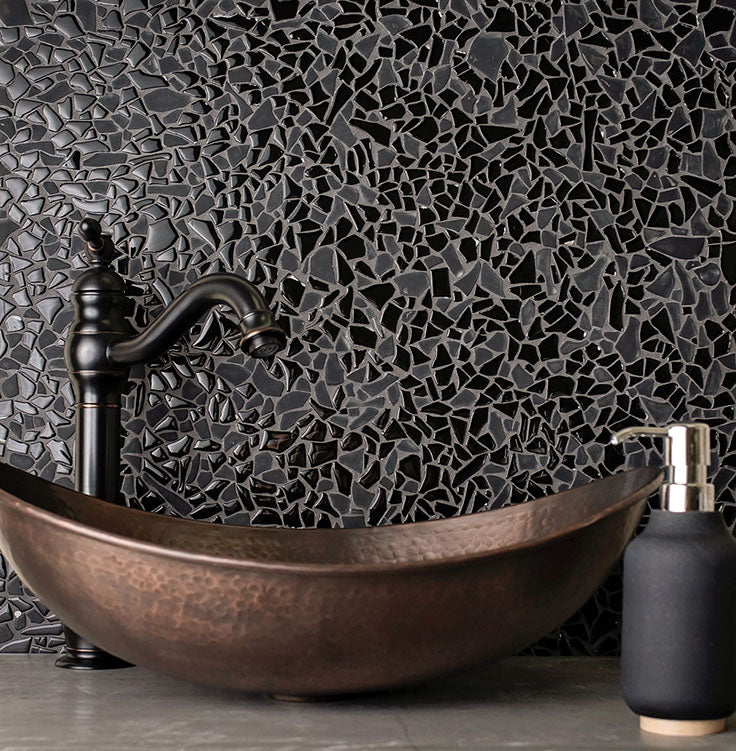 Black Glass Pebble Tile with a Gemstone Effect