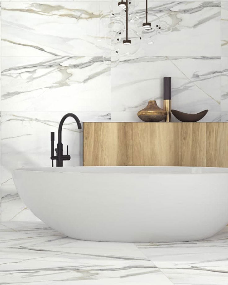 Porcelain Marble Look Tiles add Calacatta Marble Patterned to your Bathroom Floors and Walls