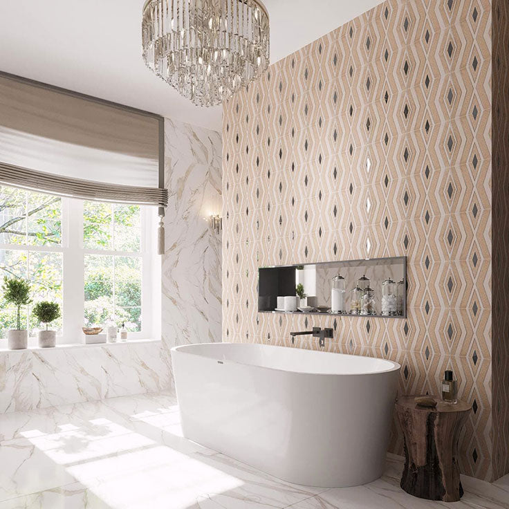 Etched Marble with Antique Mirror Diamonds Mosaic Tile accent wall for a vintage bathroom