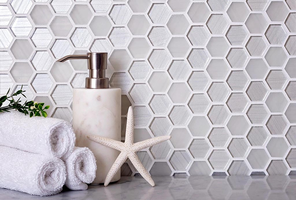 Fabrique White Hexagon Glass Mosaic Tile adds a Frosted Beach Look for a Coastal Bathroon