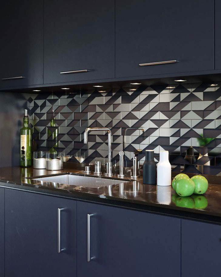 This Gray Deco Brick Glass Mosaic Tile backsplash gives you all the cultural edge of the roaring 20s you want with all of the necessities of modern life