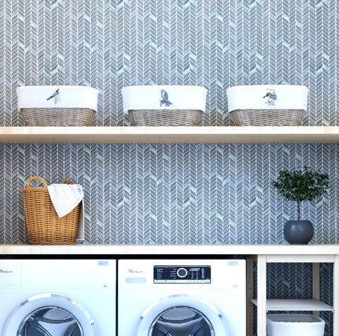 Grey Leaf Recycled Glass Mosaic Tile