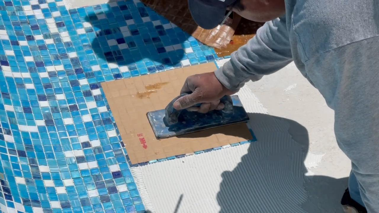 Tap Mosaic Sheet Tiles into  Place before Thinset Cures