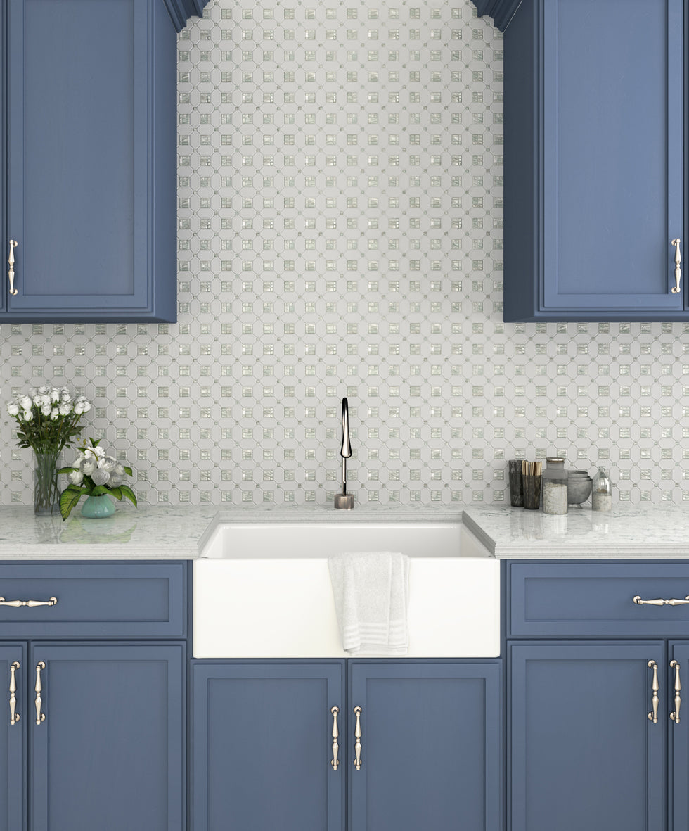 Blue and White Farmhouse Kitchen with the Shine of Pearl from the Geometric Pearl White Thassos Shell Tile Backsplash