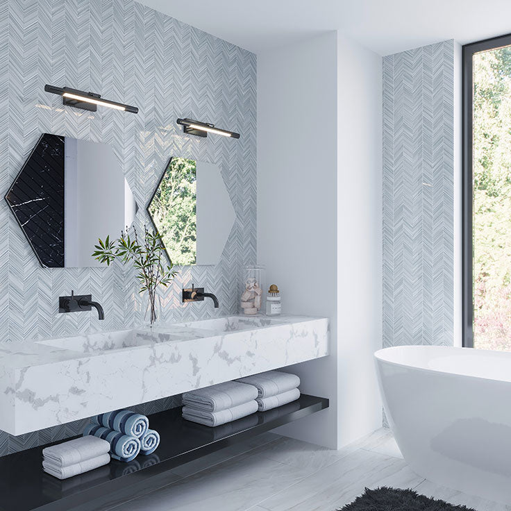 Open Gray and White Masculine Bathroom